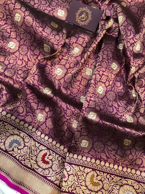 PURPLE BANARASI HANDLOOM TANCHUI KATAN SILK SAREE