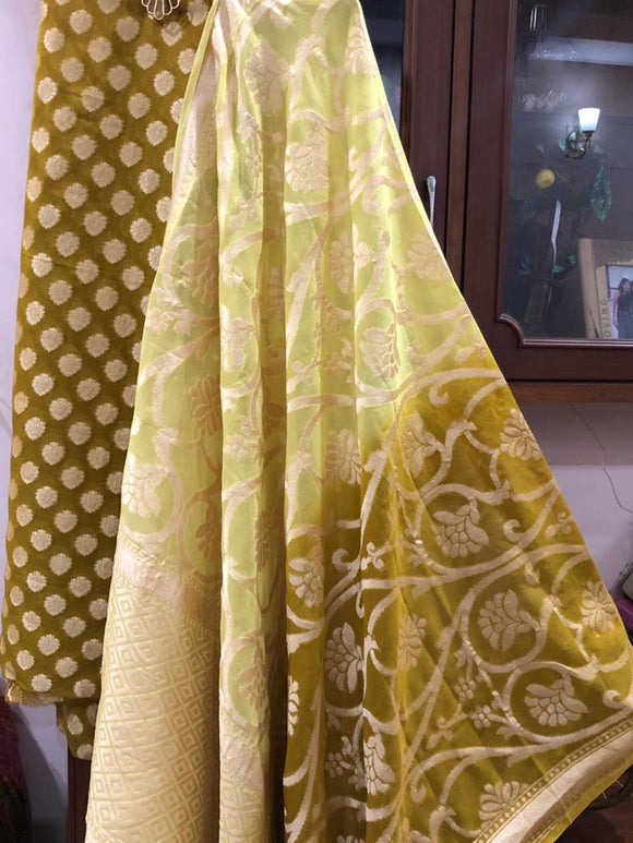 MUSTARD YELLOW KHADDI GEORGETTE SILK BANARASI HANDLOOM THREE PIECE SUIT SET