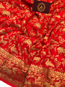 RED BANARASI HANDLOOM PURE KHADDI GEORGETTE SILK SAREE