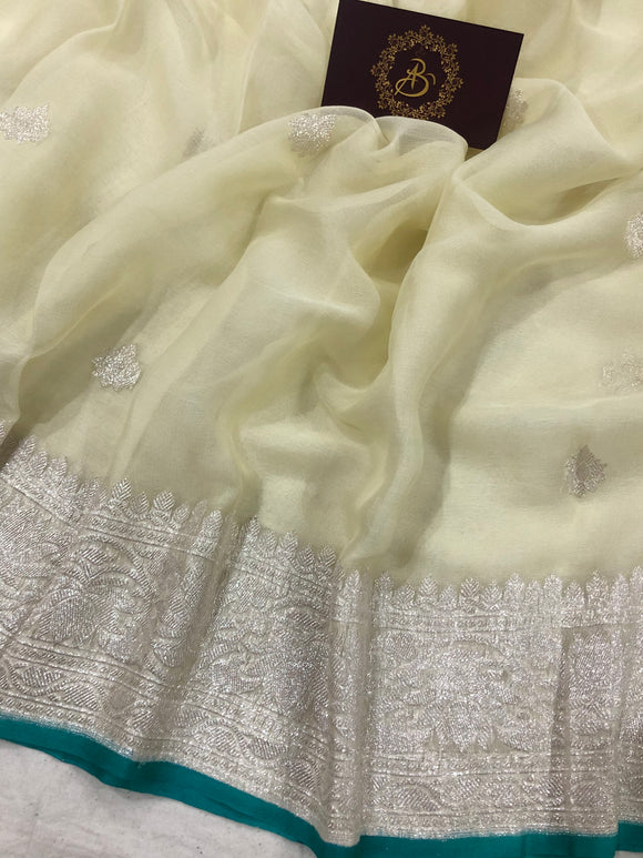 OFF WHITE BANARASI HANDLOOM PURE KHADDI CHIFFON GEORGETTE SILK SAREE