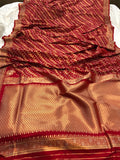 RED BANARASI HANDLOOM BUTTER SILK SAREE
