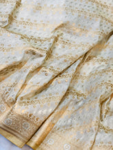 Load image into Gallery viewer, CREAM BANARASI HANDLOOM BUTTER SILK SAREE