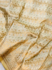CREAM BANARASI HANDLOOM BUTTER SILK SAREE