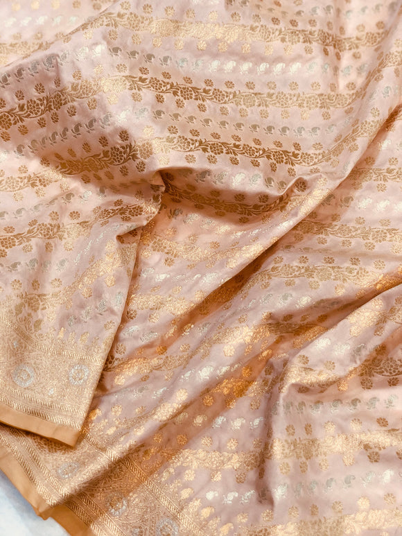 PEACH BANARASI HANDLOOM BUTTER SILK SAREE