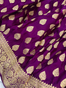 Purple Satin Silk Anushka Buti Banarasi Handloom Saree