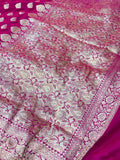 Hot Pink Satin Silk Anushka Buti Banarasi Handloom Saree