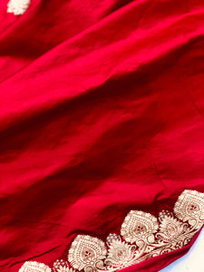 Red Satin Silk Anushka Buti Banarasi Handloom Saree