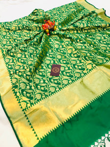 GREEN BANARASI HANDLOOM COTTON SILK DUPATTA