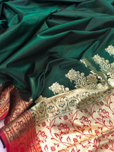 Load image into Gallery viewer, BOTTLE GREEN BANARASI HANDLOOM SOFT SILK SAREE