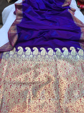 Load image into Gallery viewer, BLUISH PURPLE BANARASI HANDLOOM SOFT SILK SAREE