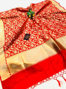 RED BANARASI HANDLOOM COTTON SILK DUPATTA