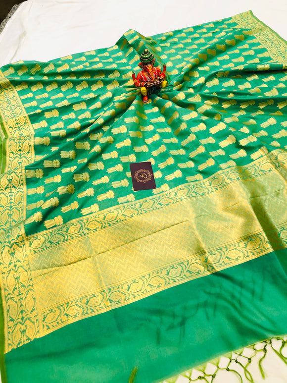 GREENISH YELLOW BANARASI HANDLOOM COTTON SILK DUPATTA