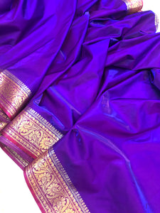 BLUISH PURPLE BANARASI HANDLOOM SOFT SILK SAREE