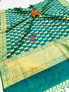 TEAL BLUE BANARASI HANDLOOM COTTON SILK DUPATTA