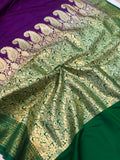 PURPLE BANARASI HANDLOOM SOFT SILK SAREE
