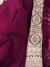 Load image into Gallery viewer, Wine Satin Silk Anushka Zari Jangla Banarasi Handloom Saree
