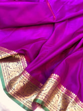 Load image into Gallery viewer, PURPLE BANARASI HANDLOOM SOFT SILK SAREE