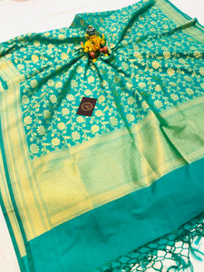 BLUISH GREEN BANARASI HANDLOOM COTTON SILK DUPATTA