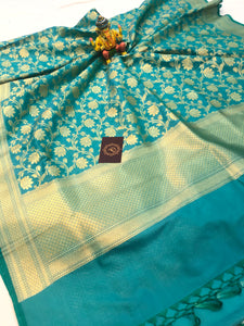 BLUE BANARASI HANDLOOM COTTON SILK DUPATTA