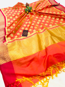 PEACH BANARASI HANDLOOM COTTON SILK DUPATTA