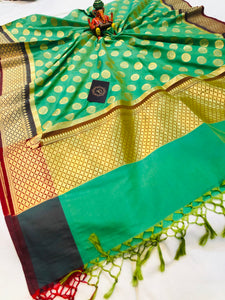 SEA GREEN BANARASI HANDLOOM COTTON SILK DUPATTA