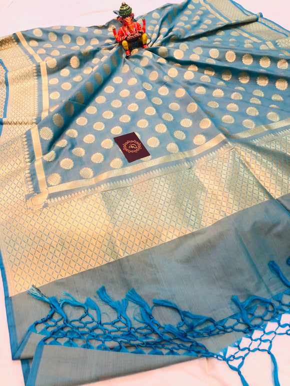 BLUISH GREY BANARASI HANDLOOM COTTON SILK DUPATTA