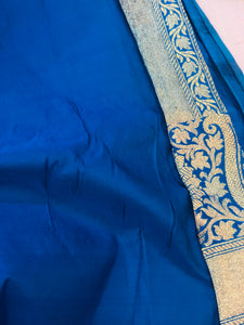 Persian Blue Satin Silk Paisley Border Buti Banarasi Handloom Saree