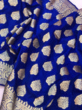 Royal Blue Satin Silk Noor Boota Banarasi Handloom Saree
