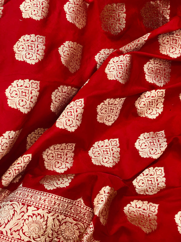 Red Satin Silk Noor Boota Banarasi Handloom Saree