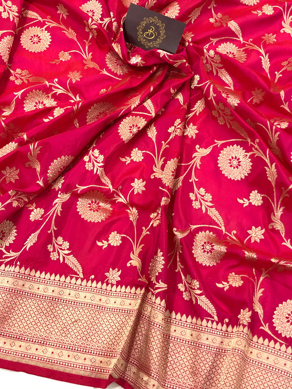 HOT PINK PURE BANARASI HANDLOOM KATAN SILK SAREE