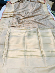 OFF WHITE BANARASI HANDLOOM KATAN SILK JAMAWAR SAREE