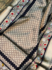 STEEL GREY BANARASI HANDLOOM KATAN SILK JAMAWAR SAREE