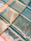 BLUE BANARASI HANDLOOM PURE TISSUE ORGANZA SAREE