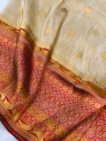 GOLDEN BANARASI HANDLOOM TISSUE KATAN SILK SAREE