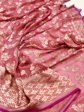 Load image into Gallery viewer, Rose Pink Pure Khaddi Chiffon Georgette Silk Banarasi Handwoven Saree