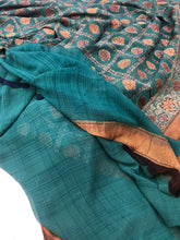 Load image into Gallery viewer, Teal Blue Antique Rangkat Pure Khaddi Chiffon Georgette Silk Banarasi Handwoven Saree