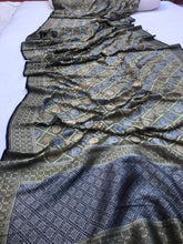 Load image into Gallery viewer, Mehendi Green Antique Rangkat Pure Khaddi Chiffon Georgette Silk Banarasi Handwoven Saree