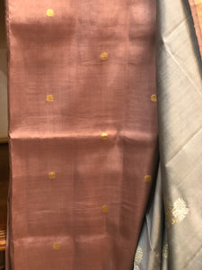 Grey Rosegold 'Kadwa' Pure Katan Silk Suit