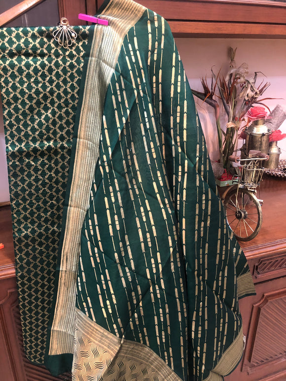 Bottle Green Pure Katan Silk Suit