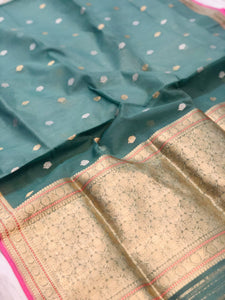 TEAL BLUE BANARASI HANDLOOM KORA SILK SAREE