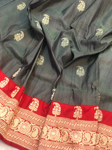STEEL GREY PURE BANARASI HANDLOOM TUSSAR SILK SAREE