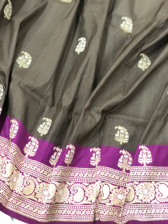 MATTE GREY PURE BANARASI HANDLOOM TUSSAR SILK SAREE