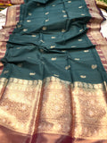 TEAL GREEN PURE BANARASI HANDLOOM TUSSAR SILK SAREE