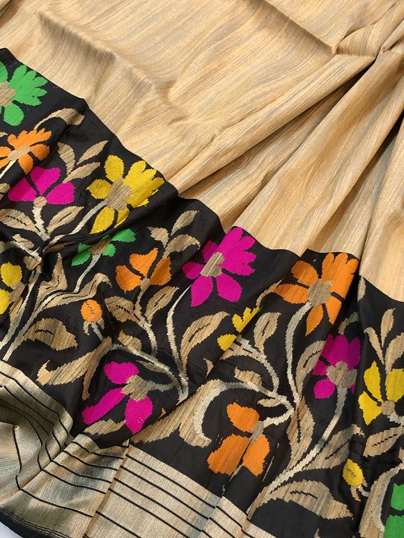 CREAM PURE BANARASI HANDLOOM TUSSAR SILK SAREE