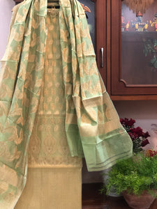 GREEN COTTON SILK BANARASI HANDLOOM THREE PIECE SUIT SET