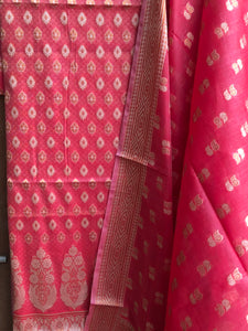 REDDISH PINK COTTON SILK BANARASI HANDLOOM THREE PIECE SUIT SET