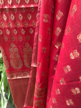 Load image into Gallery viewer, REDDISH PINK COTTON SILK BANARASI HANDLOOM THREE PIECE SUIT SET
