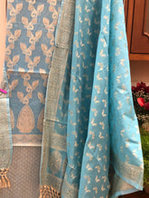 Load image into Gallery viewer, SKY BLUE COTTON SILK BANARASI HANDLOOM THREE PIECE SUIT SET