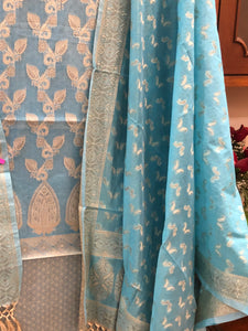 SKY BLUE COTTON SILK BANARASI HANDLOOM THREE PIECE SUIT SET