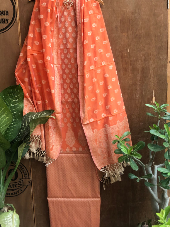 ORANGE COTTON SILK BANARASI HANDLOOM THREE PIECE SUIT SET